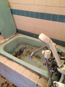 浴槽にヒビが入り水漏れしていました